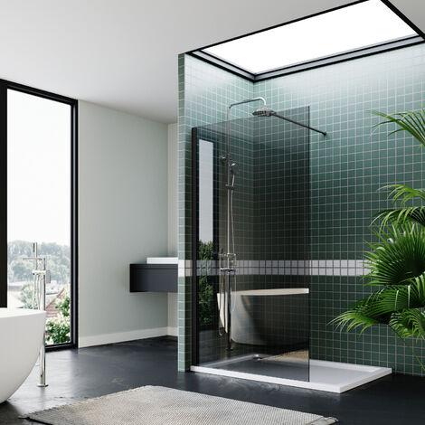 "main image of ""ELEGANT Frameless Wet Room Shower Screen Panel 8mm Easy Clean Glass Walk in Shower Enclosure 800mm"""