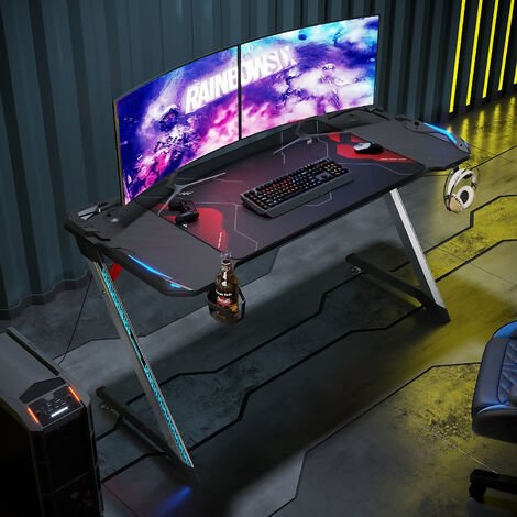 ELEGANT Gaming Desk with LED Lights Large Z-Shaped Office PC Gamer Tables Pro with RGB lighting for Home Office 140x60cm Headphone Hooks, Cup Holder Black Computer Table Workstation
