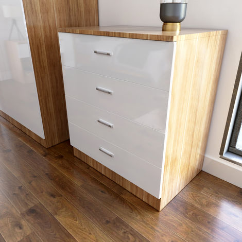 Elegant High Gloss Bedroom Nightstand with Drawer Bedside Table Cabinet for Storage- 465x450x330mm£¬White/Oak