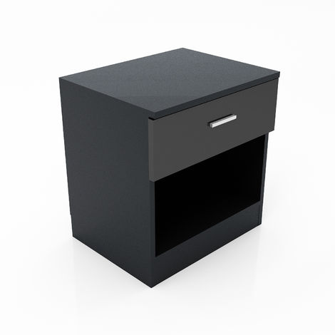ELEGANT High Gloss Bedside Cabinet Night Stand Storage Shelf with Bin Drawer, for Bedroom or Home Storage Organizer, Black
