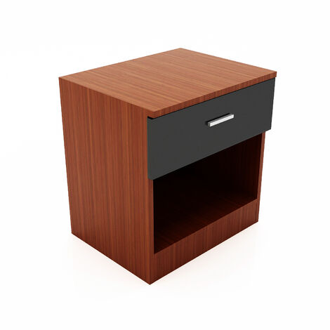 ELEGANT High Gloss Bedside Cabinet Night Stand Storage Shelf with Bin Drawer, for Bedroom or Home Storage Organizer, Black/Walnut