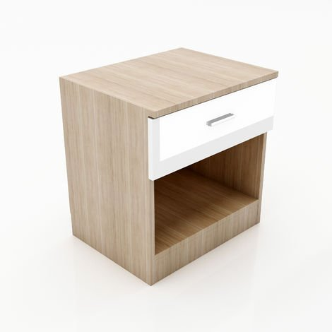 ELEGANT High Gloss Bedside Cabinet Night Stand Storage Shelf with Bin Drawer, for Bedroom or Home Storage Organizer, White/Oak