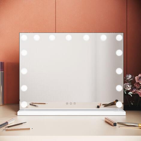 Elegant Hollywood Mirror Large Vanity Mirror lights Make Up Mirror 15 LED Bulbs Three Colour Mode Touchscreen
