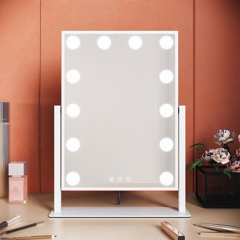 Elegant Hollywood Mirror Swing Vanity Mirror lights Make Up Mirror 12 LED Bulbs Three Colour Mode Touchscreen