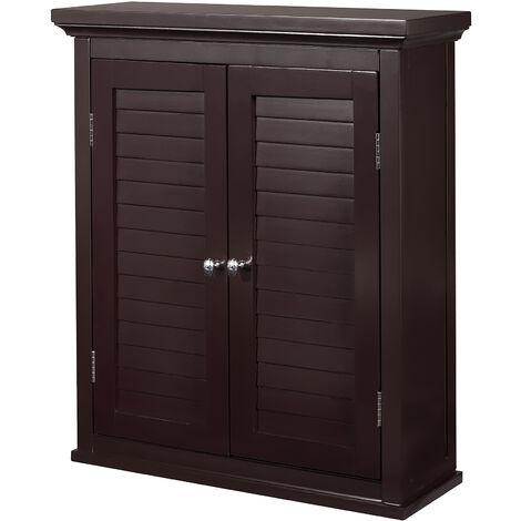 Elegant Home Fashions Bathroom Brown Wooden Double Door Wall Cabinet ELG-593