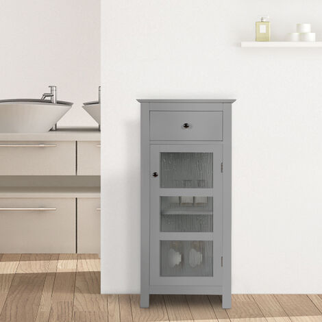 Elegant Home Fashions Bathroom Connor Free Standing Cabinet with 1 Door & Drawer Grey EHF-579G