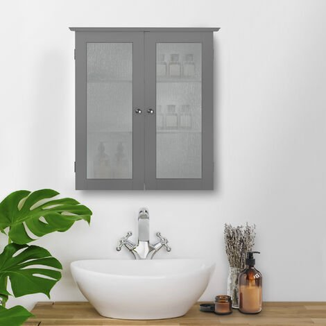 Elegant Home Fashions Bathroom Connor Wall Cabinet with 2 Glass Doors Grey EHF-581G