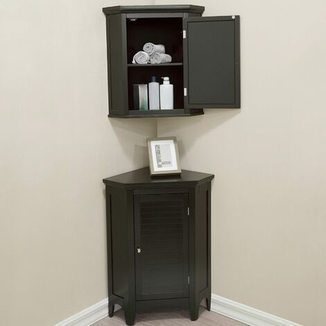 Elegant Home Fashions Bathroom Corner Cabinet Unit Set 3 pieces Brown ELG-CSETB