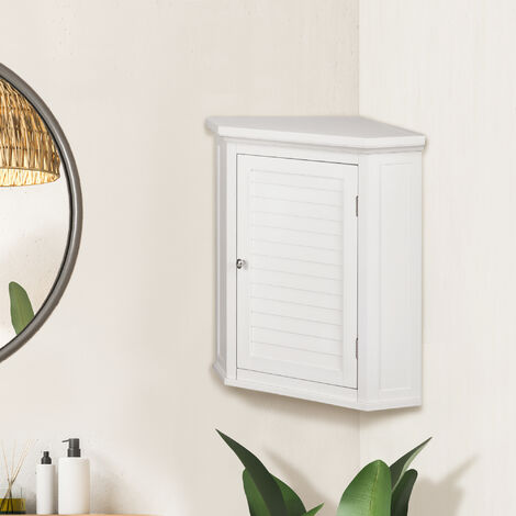Elegant Home Fashions Bathroom Cupboard White Wooden Wall Corner Cabinet ELG-587