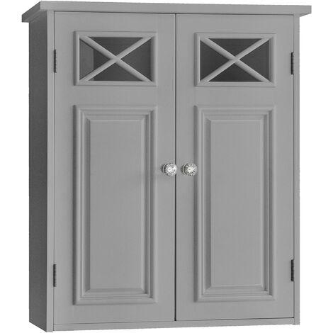 Elegant Home Fashions Bathroom Dawson Wall Cabinet With Two Doors Grey EHF-6810G