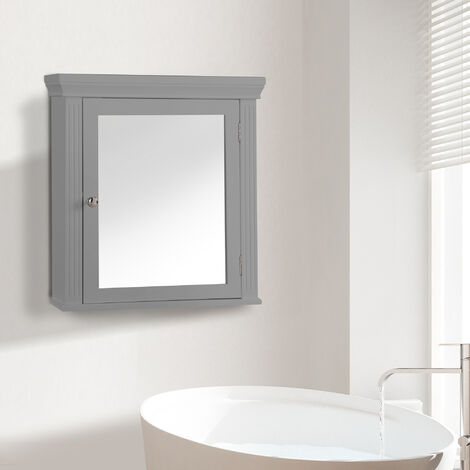 Elegant Home Fashions Bathroom Stratford Wooden Mirrored Medicine Cabinet Grey EHF-6544G