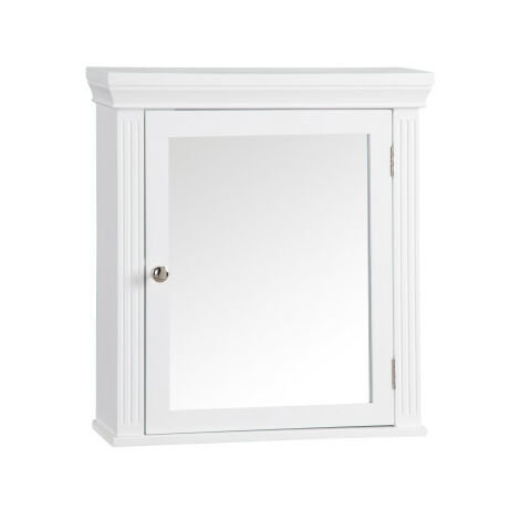 Elegant Home Fashions Bathroom Stratford Wooden Mirrored Medicine Cabinet White 6544