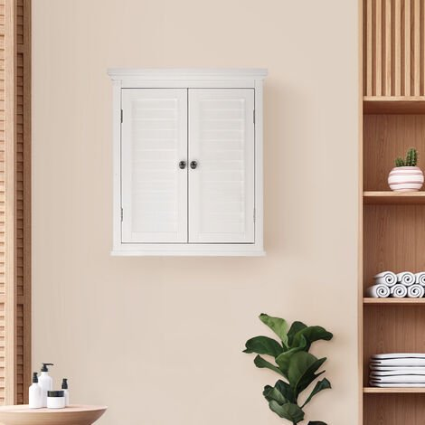 Elegant Home Fashions Bathroom White Wooden Double Door Wall Cabinet ELG-583