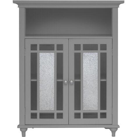 Elegant Home Fashions Bathroom Windsor Double Door Free Standing Cabinet Grey EHF-529G