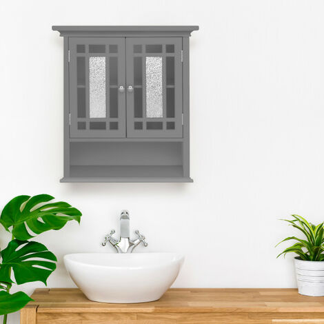 Elegant Home Fashions Bathroom Windsor Wooden Wall Cabinet with 2 Doors Grey EHF-527G