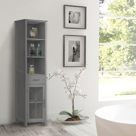Elegant Home Fashions Delaney Bathroom Wooden Multi Functional Linen Cabinet Grey EHF-7978G With Drawer and Open Shelves