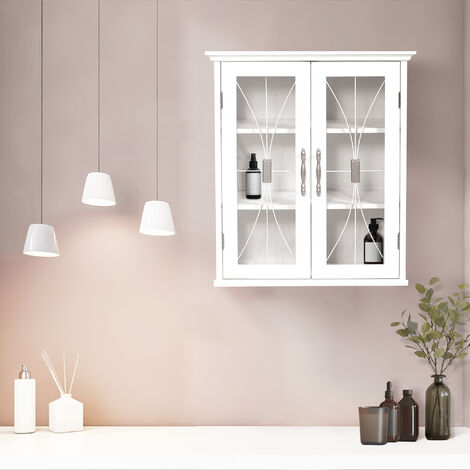 Elegant Home Fashions Delaney Bathroom Wooden Wall Cabinet White 7930 With 2 Glass Doors