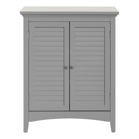Elegant Home Fashions Glancy Wooden Bathroom Floor Cabinet & Shutter Doors Grey ELG-641 With Adjustable Shelves