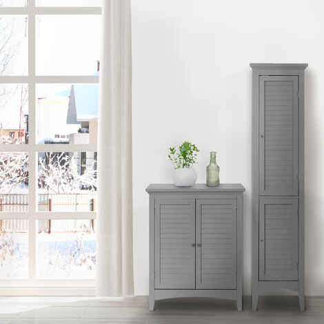 Elegant Home Fashions Glancy Wooden Linen Tower Tall Bathroom Cabinet Grey ELG-640 With Storage