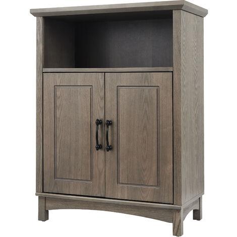 "main image of ""Elegant Home Fashions Russell Wooden Bathroom Free Standing Storage Cabinet Unit 33 cm x 66 cm x 87 Salt Oak EHF-F0013"""