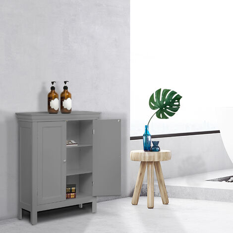 Elegant Home Fashions Stratford Bathroom Floor Cabinet Grey EHF-676G With 2 Shelves