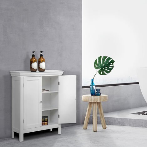 Elegant Home Fashions Stratford Bathroom Floor Cabinet White ELG-676 With 2 Shelves