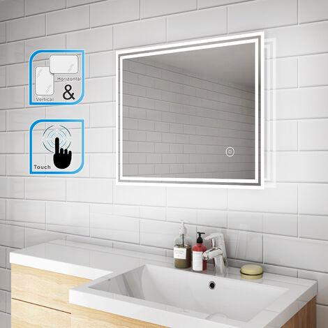 ELEGANT Horizontal Vertical 600 x 500 mm Illuminated LED Bathroom Mirror Lights Touch Sensor