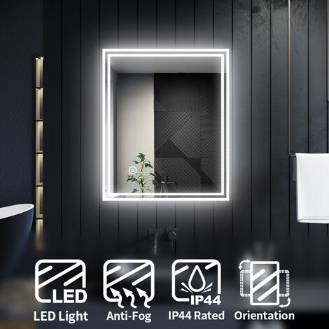 ELEGANT Horizontal Vertical Illuminated LED Bathroom Mirror Lights Touch Sensor