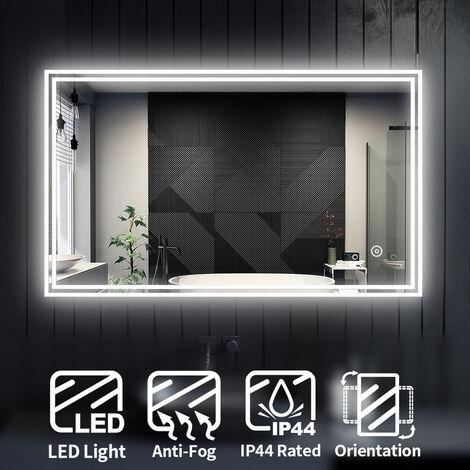 ELEGANT Horizontal Vertical Illuminated LED Bathroom Mirror Lights Touch Sensor