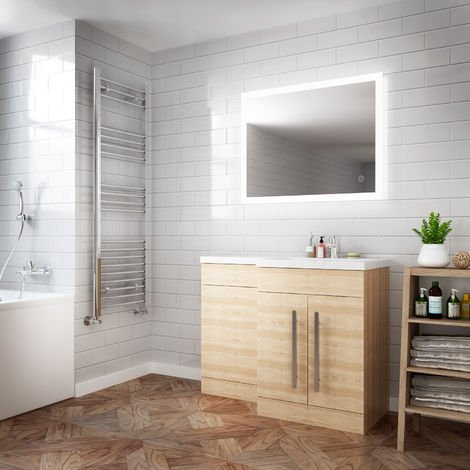 ELEGANT Horizontal Vertical LED Illuminated Bathroom Mirror 900 x 700 mm Mirror Light Touch Sensor + Demister