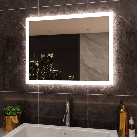 ELEGANT Horizontal Vertical LED Illuminated Bathroom Mirror Light Touch Sensor + Demister 900 x 700 mm