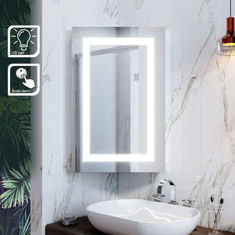 ELEGANT Illuminated Bathroom Mirror Cabinet with Lights Wall Mounted LED Bathroom Mirror with Shelf 450 x 700mm
