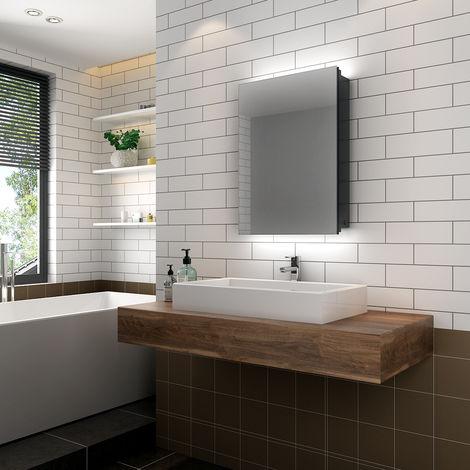"main image of ""ELEGANT Illuminated Bathroom Mirror Cabinet with Lights, Wall Mounted LED Bathroom Mirror with Shelf,"""