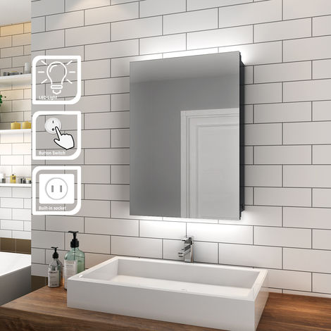 ELEGANT Illuminated Bathroom Mirror Cabinet with Shaver Socket and Light Wall Mounted LED Mirror with Shelf 500mm