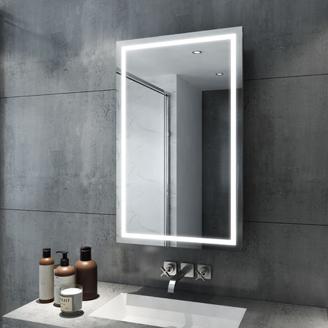 ELEGANT Illuminated LED Bathroom 430 x 690mm Sliding Mirror Cabinet Stainless Steel Frame Wall Storage Mirror with Lights with Sensor Switch