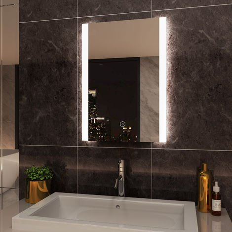 ELEGANT Illuminated LED Bathroom Mirror 700 x 500mm Vertical Mirror Light Touch Sensor