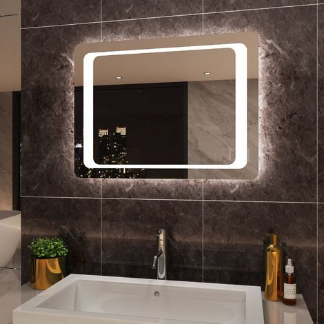 ELEGANT Illuminated LED Bathroom Mirror 800 x 600 mm Light Infrared Sensor + Demister