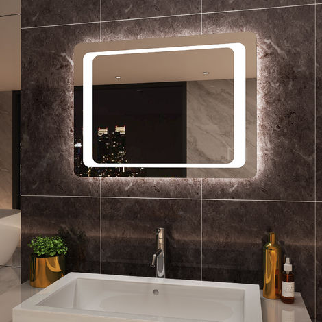 ELEGANT Illuminated LED Bathroom Mirror 800 x 600 mm Light Touch Sensor + Demister