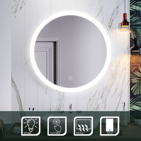 ELEGANT Illuminated LED Bathroom Mirror 800 x 800 mm Modern Round Mirror Touch Sensor + Demister
