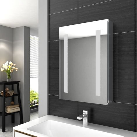 """main image of """"ELEGANT Illuminated LED Bathroom Mirror Cabinet Stainless Steel Frame Wall Storage Mirror with Lights 500 x 700mm"""""""