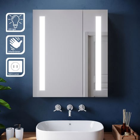 ELEGANT Illuminated LED Bathroom Mirror Cabinet Stainless Steel Wall Mounted with Lights,