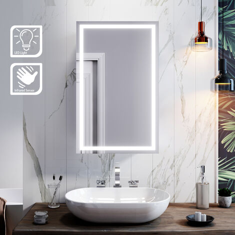 ELEGANT Illuminated LED Bathroom Mirror Cabinet Stainless Steel Wall Mounted with Lights, Sliding Mirror Cabinet,430 x 690mm