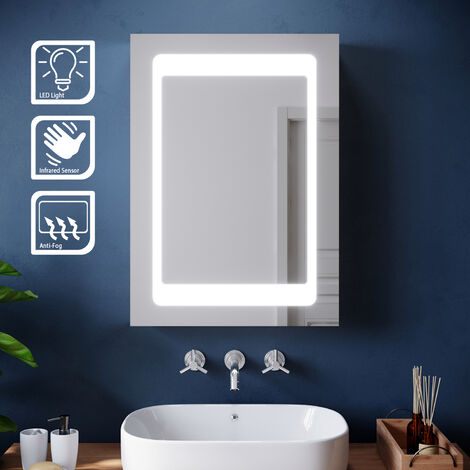 ELEGANT Illuminated LED Bathroom Mirror Cabinet Stainless Steel Wall Storage, Mirror with Lights and Sensor Switch,