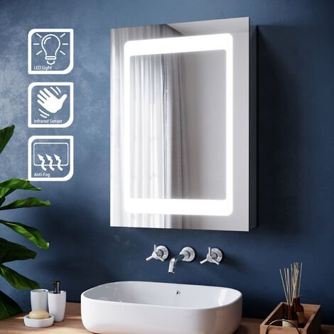 ELEGANT Illuminated LED Bathroom Mirror Cabinet with Adjustable Glass Shelf with Lights + Sensor Switch + Demister Pad Stainless Steel Wall Mounted Storage Unit