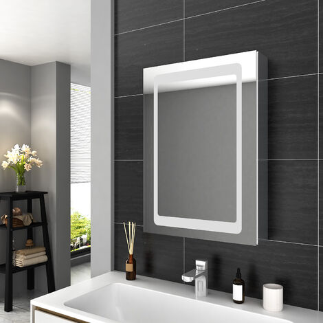 ELEGANT Illuminated LED Bathroom Mirror Cabinet with Adjustable Glass Shelf with Lights with Sensor Switch and Demister Pad Stainless Steel Storage Unit