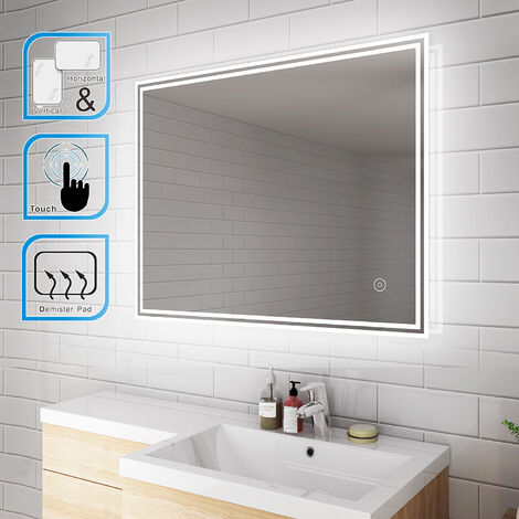 ELEGANT Illuminated LED Bathroom Mirror Light 900 x 700 mm Horizontal Vertical Mirror Touch Sensor with Demister