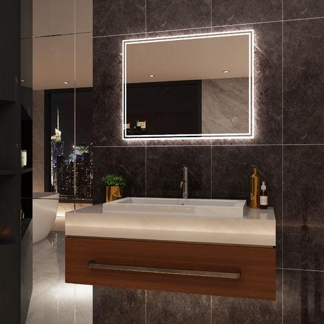 ELEGANT Illuminated LED Bathroom Mirror Light 900 x 700 mm Horizontal Vertical Mirror Touch Sensor with Demister