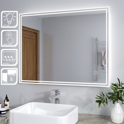 ELEGANT Illuminated LED Bathroom Mirror Light Horizontal Vertical Mirror Touch Sensor with Demister 900 x 700 mm