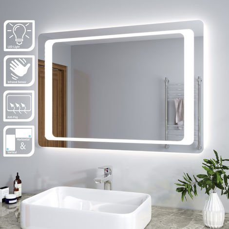 ELEGANT Illuminated LED Bathroom Mirror Light Infrared Sensor + Demister 1000 x 700 mm