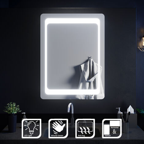 ELEGANT Illuminated LED Bathroom Mirror Light Sensor + Demister